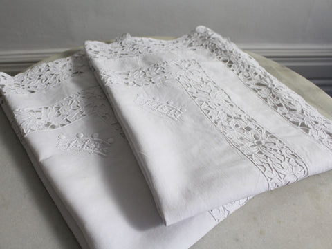 A Pair of Antique French Embroidered Pillowcases with Baron's Crown 1