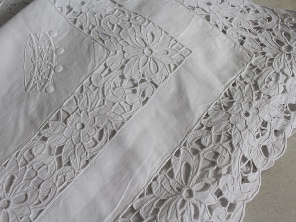 A Pair of Antique French Embroidered Pillowcases with Baron