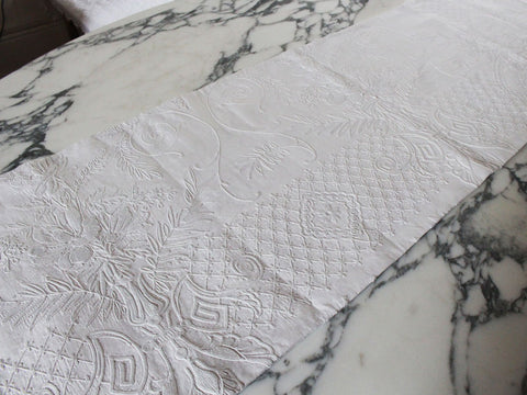 Medium Bolster - Antique French White Floral Embroidery on Linen Cushion by Charlotte Casadejus