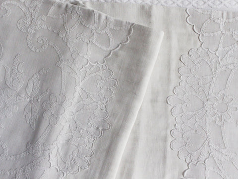 Bolsters - Antique French White on White Embroidered Cornely on Linen Bolster P343