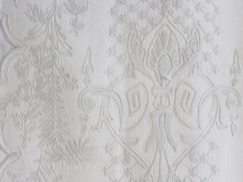 Bolsters - Antique French White on White Embroidered Cornely on Linen Bolster P341
