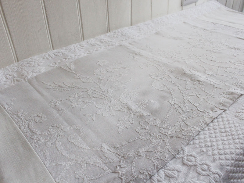 Bolsters - Antique French White on White Embroidery on Linen Bolster P342