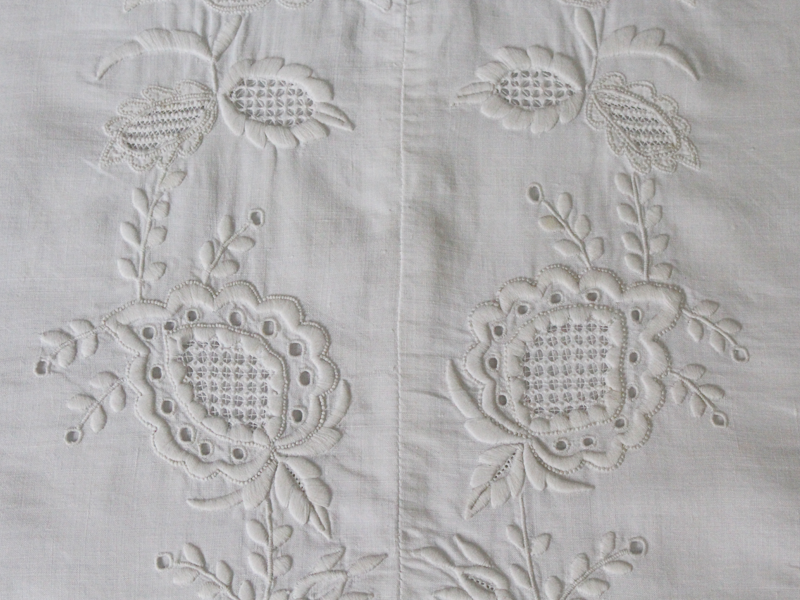 Bolster - Antique French White on White Embroidery on Linen Bolster by Charlotte Casadéjus