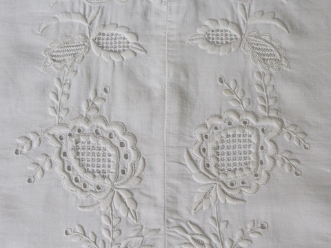Medium Bolster - Antique French White Cutwork on Linen by Charlotte Casadéjus
