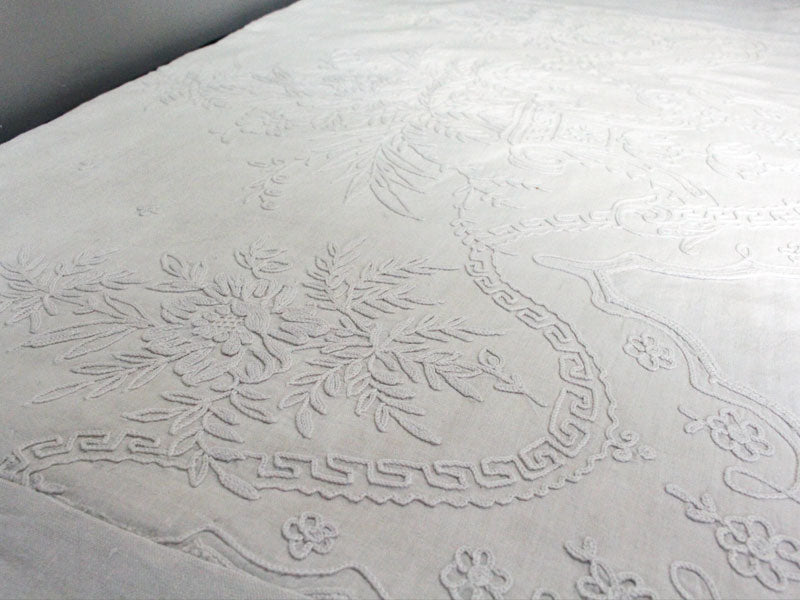 Bolsters - Antique French White on White scalloped Cornely Embroidery on Linen Bolster by Charlotte Casadéjus