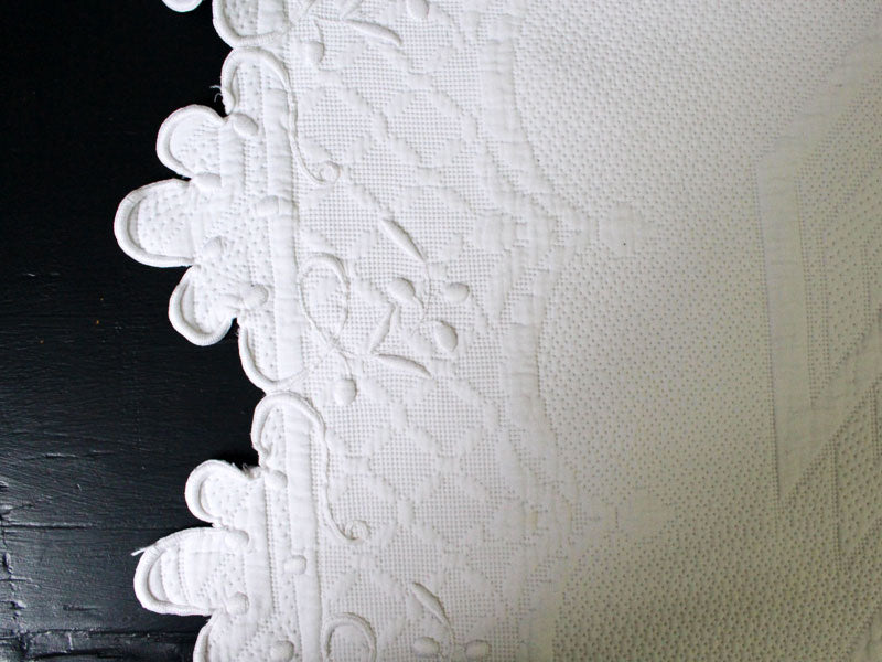 Bolsters - Antique French Piqué Bolster with White on White Embroidery by Charlotte Casadéjus