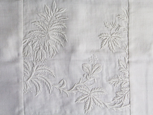 40cm Square Cushion - Antique French White Fine Floral Embroidery on Linen