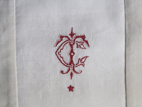 30cm Square Cushion - Antique French Red & White Monogram CT or TC on Linen