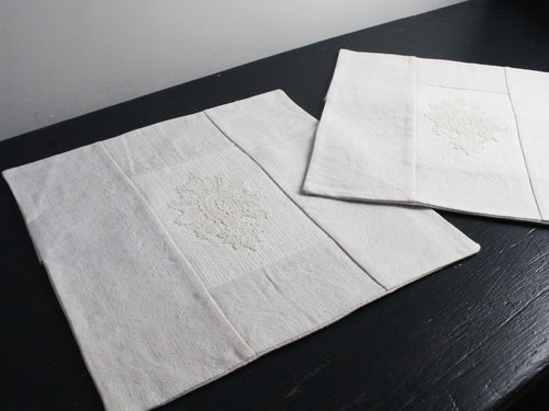 30cm Square Cushion - Antique French Ivory Lace Motif on Linen