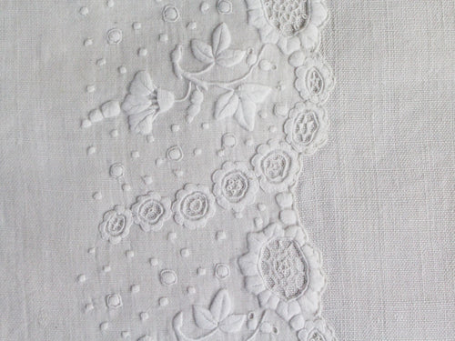 30cm Square Cushion - Antique French White on White Delicate Embroidery on Linen