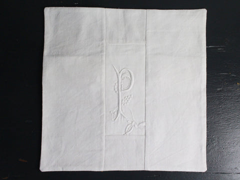 30cm Square Monogrammed Cushion - Antique French White on White Embroidered 'P' on Linen