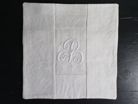 30cm Square Monogrammed Cushion - Antique French White on White Embroidered 'B' on Linen