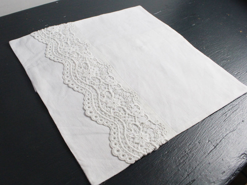 30cm Square Cushion - Antique French White on White Scalloped Embroidery on Linen