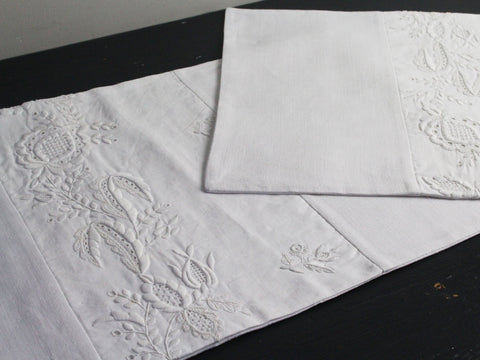 Medium Bolster - Antique French White Embroidery on Linen by Charlotte Casadéjus