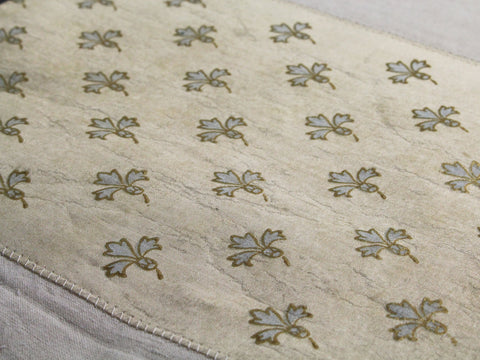 Small Bolster - Antique French Silk Fleur de Lys Pattern on Linen Cushion