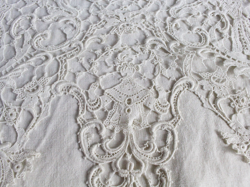 Copy of 40cm Square Cushion - Antique French Ivory Guipure Lace on Linen Surround
