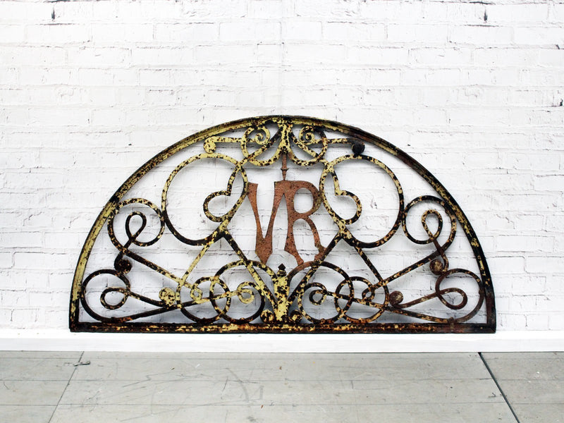 A Victorian Cast Iron Demi Lune Decorative Overdoor With Initials VR