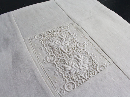 30cm Square Cushion - Antique French Ivory Lace Insert on Linen
