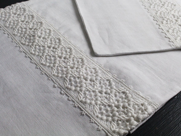 Small Bolster - Antique French White Lace on Linen Cushion