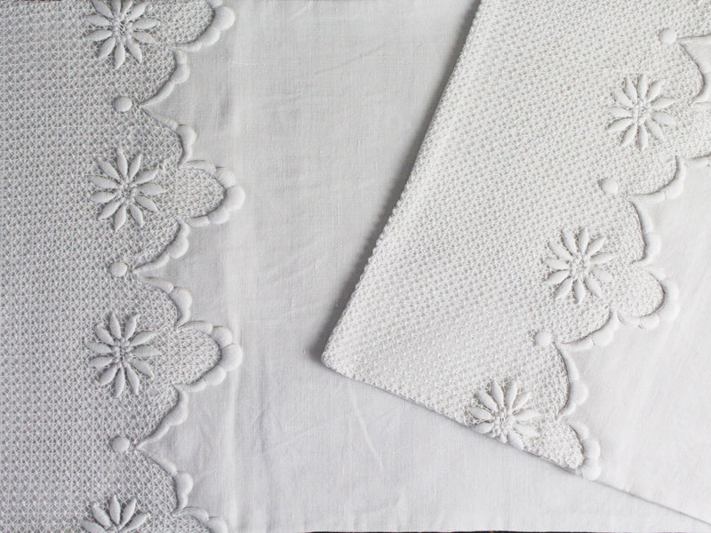 Small Bolster - Antique French White Embroidered Scalloped Tulle on Linen Cushion
