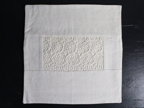 30cm Square Cushion - Antique French Ivory Lace on Linen