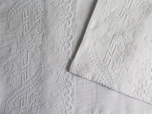 Small Bolster - Antique French White Cornely on Linen Cushion