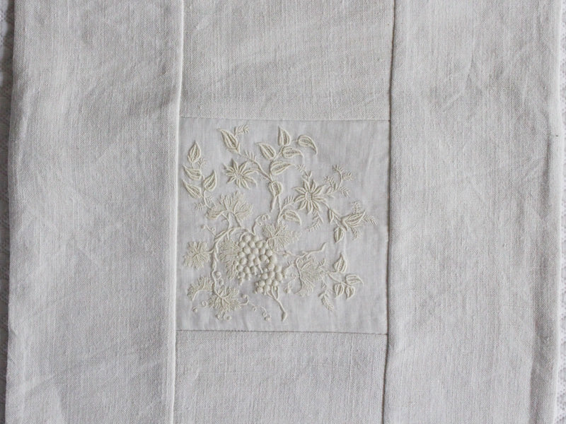 30cm Square Cushion - Delicate Antique French Embroidery on Linen P346