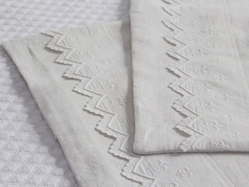 30cm Square Cushion - Antique French Fleur de Lys Embroidery on Linen P347