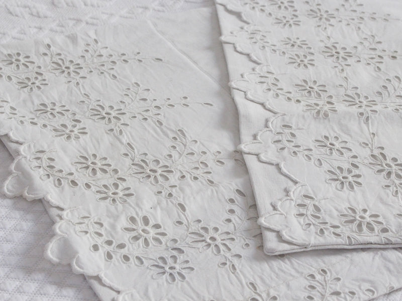 40cm Square Cushion - Antique French Broderie Anglaise on Linen P356