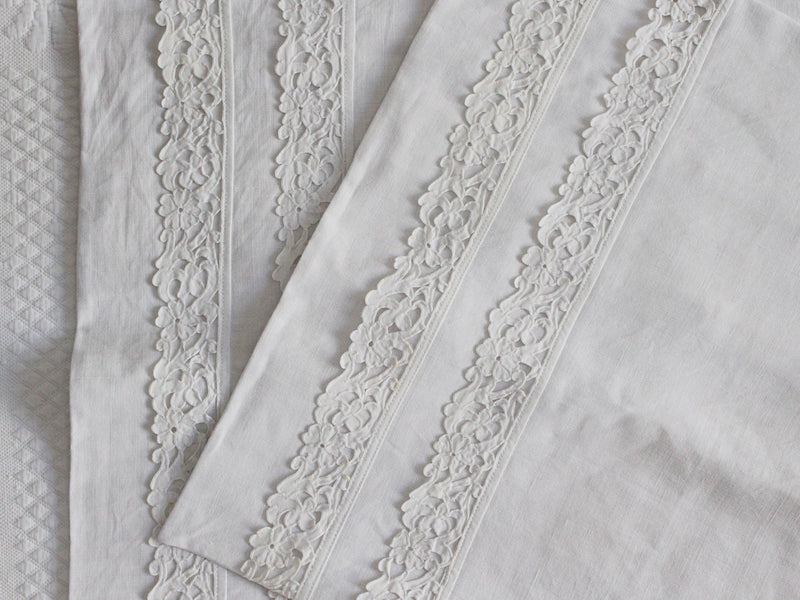 50cm Square Cushion - Antique French White on White Embroidery on Linen P358