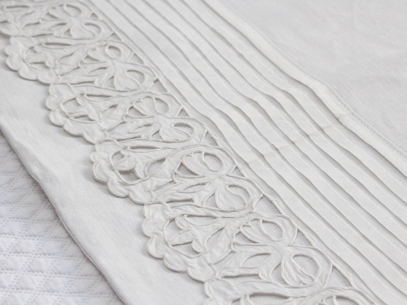 50cm Square Cushion - Antique French White on White Broderie Anglaise on Linen P362