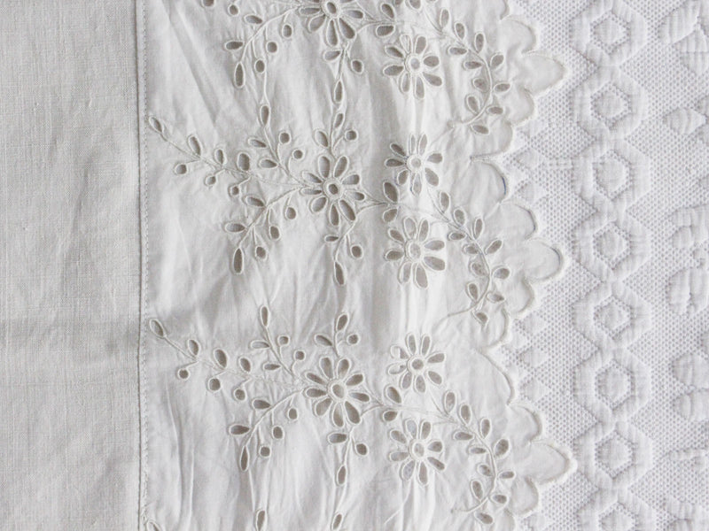 50cm Square Cushion - Antique French Embroidered Edging on Linen P353