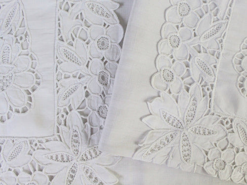 Medium Bolster Monogrammed - Antique French White Cutwork on Linen by Charlotte Casadéjus