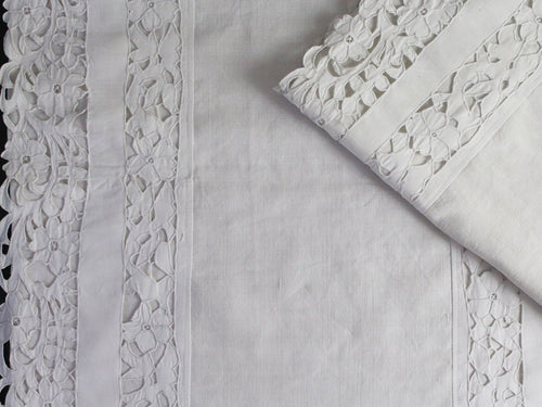 50cm Square Cushion - Antique French Ornate White Scalloped Cutwork on Linen