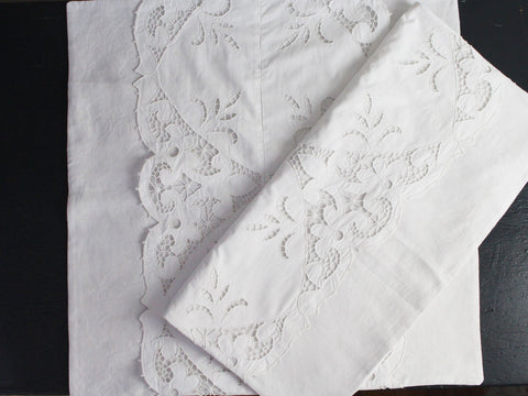 30cm Square Cushion - Antique French White on White Flower Embroidery on Linen