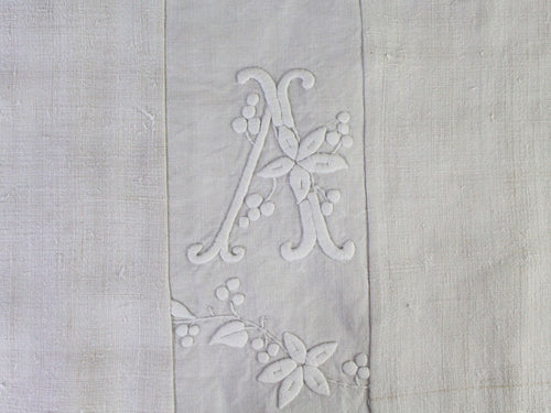 Medium Bolster Monogrammed - Antique French White on White Embroidered 'V' 'A'on Linen by Charlotte Casadéjus