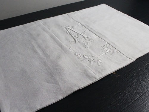 Small Bolster Monogrammed - Antique French White on White embroidered 'A' Cushion