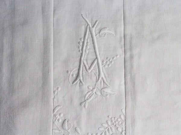 Small Bolster Monogrammed - Antique French White on White embroidered