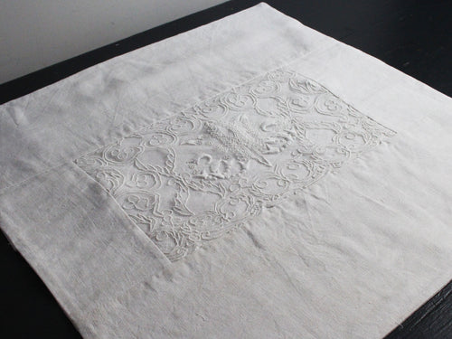 40cm Square Cushion - Antique French White Embroidered Monogram on Linen