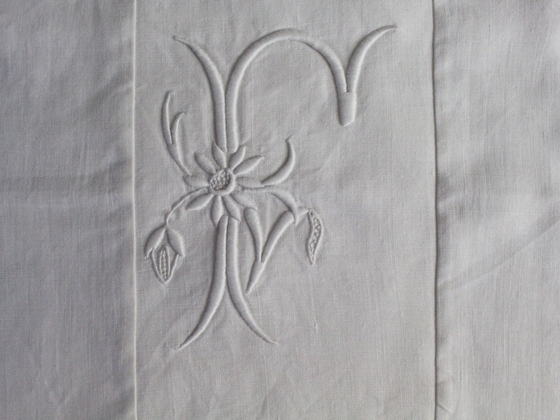 50cm Square Monogrammed Cushion - Antique French White on White Embroidered 'F' on Linen