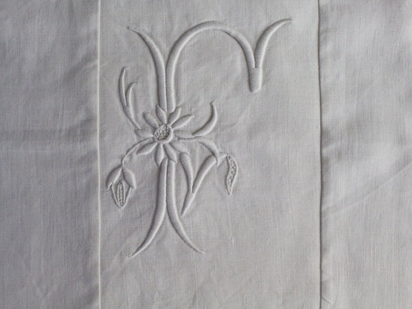 50cm Square Monogrammed Cushion - Antique French White on White Embroidered