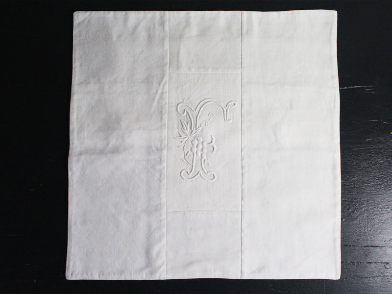40cm Square Monogrammed Cushion - Antique French White on White Embroidered 'F' on Linen