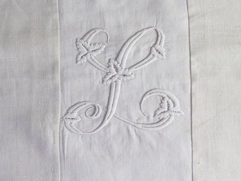 50cm Square Monogrammed Cushion - Antique French White on White Embroidered 'L' on Linen