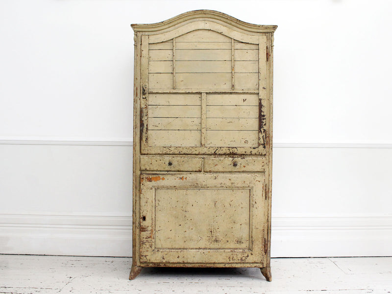 A Late 18th Century French Painted Two Door Cupboard with Red Interior