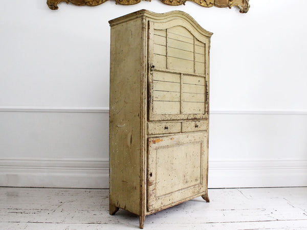 A Late 18th C French Painted Cupboard with Original Paint and Red Interior