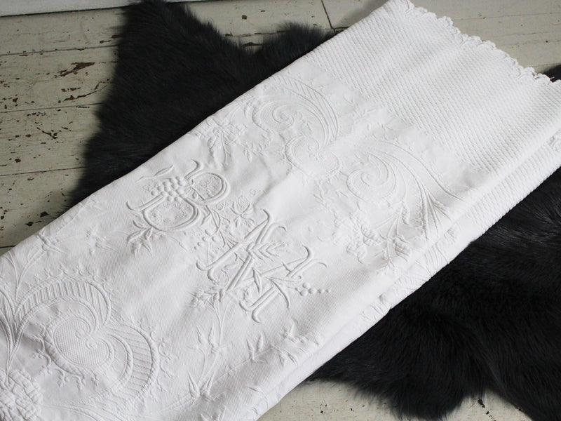 A White 19th C Piqué Bed Cover with Large Monogram 'BM' & Scalloped Edging