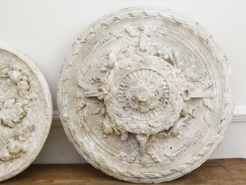 A Vintage French Plaster Ceiling Rose Decoration - Pair Available