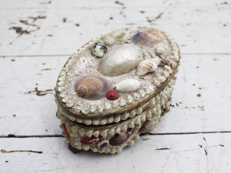 A Decorative Antique Shell Covered Box 4 of 4