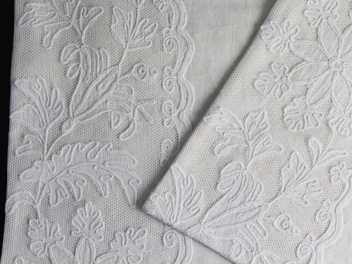 40cm Square Cushion - Antique French Fine Embroidered Tulle on Linen