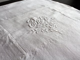 40cm Square Cushion - Antique French White on White Embroidery 'Bébé' on Linen